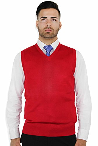 Blue Ocean Solid Color Sweater Vest Red XX-Large