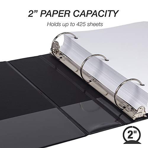 Samsill Economy 3 Ring Binder Organizer, 2 Inch Round Ring Binder, Customizable Clear View Cover, Black Bulk Binder 12 Pack Photo #3