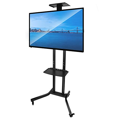 """Forging Mount Black Rolling TV Cart Mobile TV Stand for 32-70"""" Plasma Flat Panel Screen -Height Adjustable TV Floor Stand with Wheels up to 110lbs VESA 600X400 (FM6001)"""