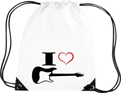 Camiseta stown Premium gymsac Música I Love–Guitarra eléctrica, blanco