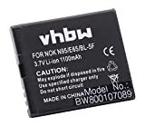 vhbw Batería Recargable Compatible con Nokia 6210 Navigator, 6290, 6710 Navigator, C5-SCDMA, E65, N93 móvil, Smartphone (1100 mAh, 3,7 V, Li-Ion)