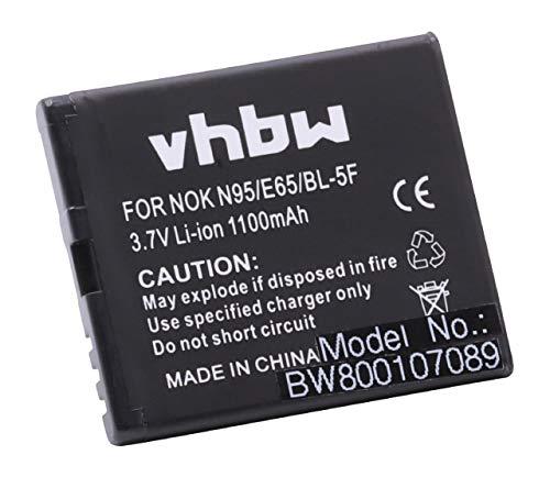 vhbw Li-Ion Akku 1100mAh (3.7V) für Handy Handy Smartphone Nokia E65, N93, N93i, N95, N96, X5, X5-01, X5-SCDMA wie MP-S-O, BL-5F.