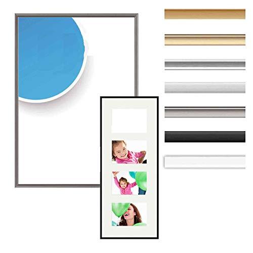Alurahmen Accent, Wechselrahmen Alu,Bilderrahmen Alu, Farbe Silber matt, 24x30 cm