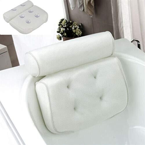 Almohada de Baño, Comfort 3D Mesh SPA SPA Almohada Cojín De Cuello Y Soporte De Espalda con Ventosa para El Hogar