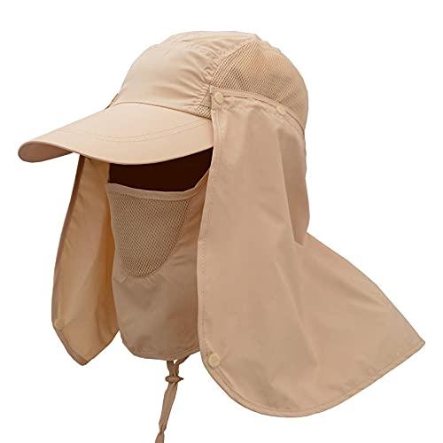 Sombreros para El Sol para Hombres Y Mujeres Verano Al Aire Libre Que Cubre La Cara Protección UV Sombrilla Femenina Sombrero De Pesca Pescador Sombrero para El Sol Caqui