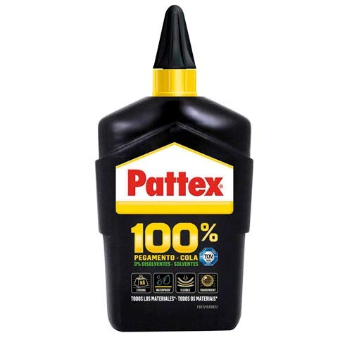 Pattex 100% - Adhesivo multimaterial transparente, botella 100gr