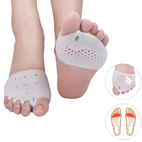 HIGHKAS Gel Separator with 5-Hole Big Straighteners, Toe orthosis,Foot Gel Pad Support Protector for Valgus, Overlapping, Day and Night Pain Relief,White,2Pcs