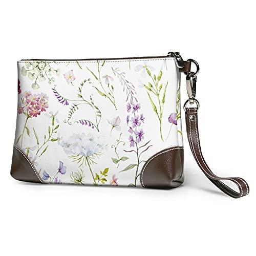 Hdadwy Acuarela patrón floral impreso mujeres bolsos monederos carteras cuero embrague bolsas 8 pulgadas x 5.5 pulgadas x 1.5 pulgadas