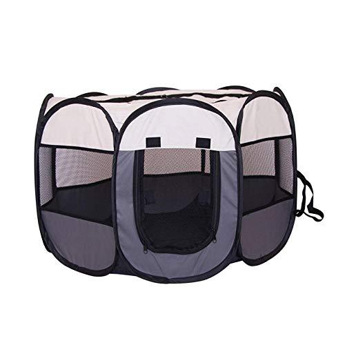 Tragbares, faltbares Haustier-Zelt, großes Zelt, für Hunde/Katzen, Laufstall, Welpen-Zwinger, einfache Bedienung, robust, achteckig, 91 x 91 x 58 cm, Grau