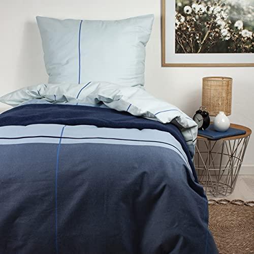 Arctic Biber Bettwäsche 100{26ec2c667c7562ed5dcd5d6931134dffd87aea99ea7859de6b36b332e1a9c501} Baumwolle 135x200cm + 80x80cm, Blau Streifen-Design – Oeko-TEX Standard 100