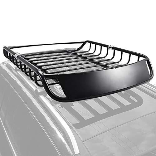 DREAMADE Auto Dachkorb Universal, Dachgepäckträger schwarz, Dachträger, Dach Gepäckträger, Gepäckkorb aus Stahl, Autodach Gepäckträger Regal, Schwarz