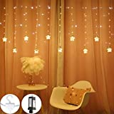 HYAL LUZ Window Curtain Fairy Lights, 150 LED Fairy Star String Lights with Hook Waterproof Copper Wire Lights Bedroom Wall Wedding Backdrop Party Warm White 8 Modes Plug Twinkle Christmas Lights