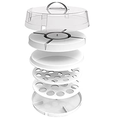 4-in-1 Cake Server, Deviled Eggs Carrier by DOTERNITY - Easy to Carry,Traveling - Space Saving - Party Platter Carrier for Cupcakes, Cakes, Cookies, Deviled Eggs, Dip Displays & More