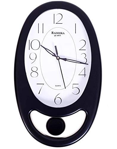 LYONIC Reloj de pared con forma ovalada para decoración del hogar, para decoración de oficina, sala de estar, reloj de pared decorativo (24 cm x 39 cm x 5 cm, color negro)