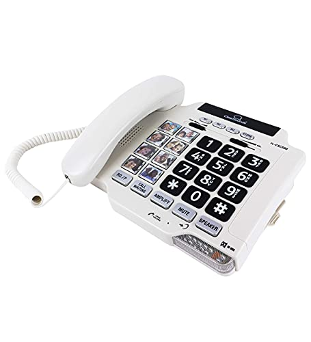 ClearSounds CSC500 Amplified Landline Phone with Speakerphone and Photo Frame Buttons - Up to 30dB Amplification, T-Coil Hearing Aid Compatible (Renewed)