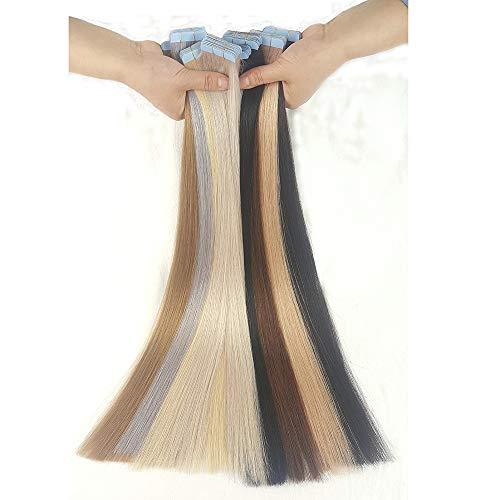 ShowJarlly Tape Extensions Echthaar Naturschwarz #1B Haarverlängerung Echthaar 20 Tressen 50g Glatt (20zoll-50cm)