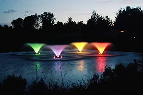 Kasco Decorative Aerating Lake & Pond Fountain with LED Lights - 3/4 HP VFX (3400vfx + LED Lights w/ 100ft Cord)