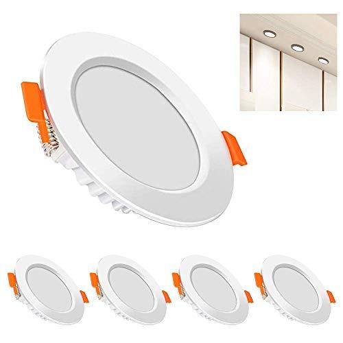 Pack de 5 focos LED empotrables planos de 6 W, 230 V, para salón, dormitorio, ultraplanos, blanco cálido [Clase energética A+]