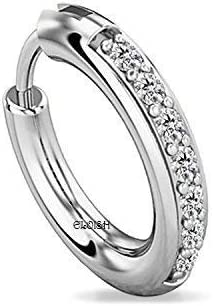 ELOISH 92.5 Sterling Silver Nose Ring for Women. 92.5% Pure Silver CZ Studded Nose Ring for Girls (CZNOSERINGSILVER)