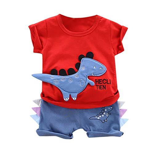 MoneycomToddler Baby Boys Cartoon Letra estampada dinosaurio T Shirt Tops Shorts Outfits Set Cumpleaños Chic Ceremonia Boys 2019 Nuevo Blanco, Rojo, Púrpura rojo 2-3 Años