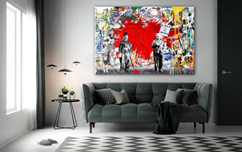 Stylishwallart- Banksy Einstein Chaplin Love is The Answer Street Art.Modern Framed Canvas Picture for Home Decoration (36 x 59 inch, Love is The Answer)