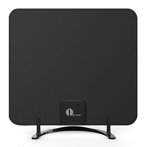 1byone DVB T/ T2 Antenne mit Ständer HDTV Antenne für Digitale DVB T/ T2 und analoge TV Signale, Indoor Digital TV Antenne für VHF/UHF/FM, Soft Design