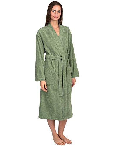 TowelSelections Women's Robe Turkish Cotton Terry Kimono Bathrobe Medium/Large Basil