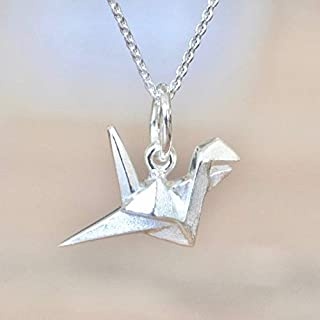 Origami Crane Necklace in Sterling Silver with 18 Inch Chain