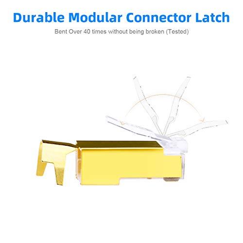 AMPCOM 2-Piece CAT6A & CAT7 Shielded RJ45 Modular Plug Connector 50UM 8P8C 10PCS