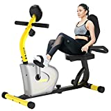 pooboo Magnetic Recumbent Exercise Bike for Adults Seniors,Indoor Stationary Cycling Bike with Adjustable Resistance,Comfortable Seat,LCD Monitor,Transport Wheels for Home Use