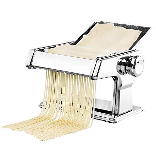 HUIHUAN Robuste hausgemachte Nudelmaschine, manuelle kleine Nudelmaschine, Doppelmesser mit Stützplatte, verwendet für frische dünne Nudelmakkaroni-Lasagne
