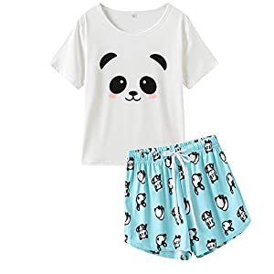 VENTELAN Pajama Women Cute Panda Sleep Tee Shirt Shorts Set Summer Sleepwear