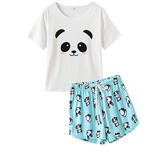 VENTELAN Pajamas for Women Cute Cartoon Sleep Tee Shirt Shorts Set Summer Sleepwear, White-Green, X-Small