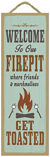 """SJT ENTERPRISES, INC. Welcome to Our Firepit Where Friends and Marshmallows get Toasted Primitive Wood Plaque, 5"""" x 15"""" (SJT02639)"""
