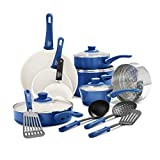 GreenLife Soft Grip Healthy Ceramic Nonstick, Cookware Pots and Pans Set, 16 Piece, Blue