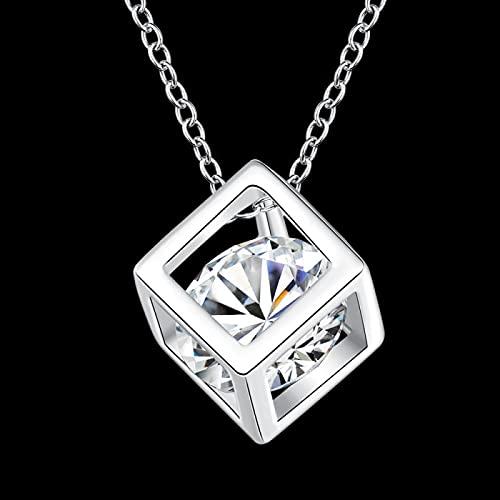 ShSnnwrl Colgante Collares de Plata de Ley 925 con Forma Cuadrada y Elegante de Estilo Simple para Mujer, Nuevo Colgante Largo de