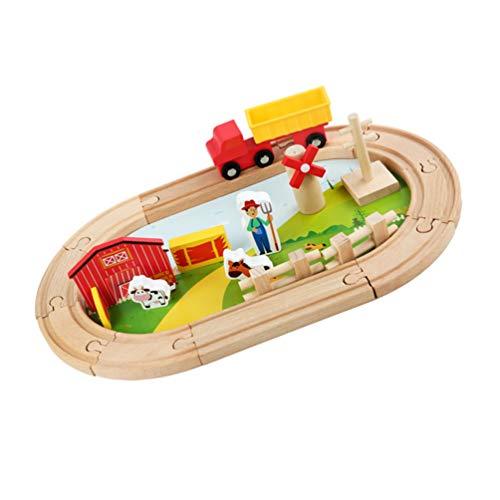 TOYANDONA Vías de Tren Bloques de Vías de Granja de Madera Escena de Animales de Granja de Plástico Bloques de Vías Juguetes Ranura de Tren Accesorios de Ferrocarril Juguete para Niños
