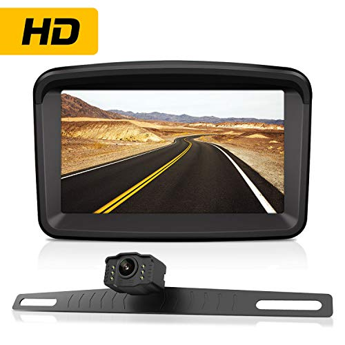 Backup Camera with 5' Monitor License Plate Mounted Reverse HD Camera Night Vision Waterproof + Rear View High Definition LCD Backing Monitor Safety Reversing for Car/Truck/Pickup/Van/Camping Car/RV