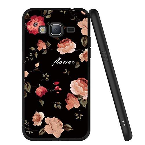 ZhuoFan Cover Samsung Galaxy J3 2016, Custodia Cover Silicone Nero con Disegni Ultra Slim TPU Morbido Antiurto 3d Cartoon Bumper Case Protettiva per Samsung Galaxy J3 2016 Smartphone (Fiori)