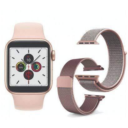 Iwo 12 Smartwatch - Relógio Inteligente a Prova D'água + 2 Pulseiras Extras (Rosa)