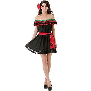 Spicy Senorita Women s Halloween Costume Mexican Fiesta Flamenco Dancer Dress Black