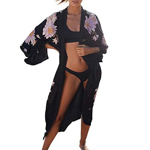 Uniquestyle Damen Sommer Kimono Cardigan Strand Chiffon Bluse Tops Boho Bikini Cover Up Floral One Size