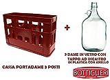BOTTIGLIERI CASALINGHI Kit Cassa Porta Dame con 3 Dame in Vetro da 5 Litri comprese di Tap...