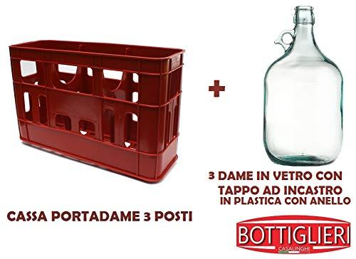 BOTTIGLIERI CASALINGHI Kit Cassa Porta Dame con 3 Dame in Vetro da 5 Litri comprese di Tappo in PVC con Anello per Alimenti, Ideale per Il Trasporto e la conservazione in casa