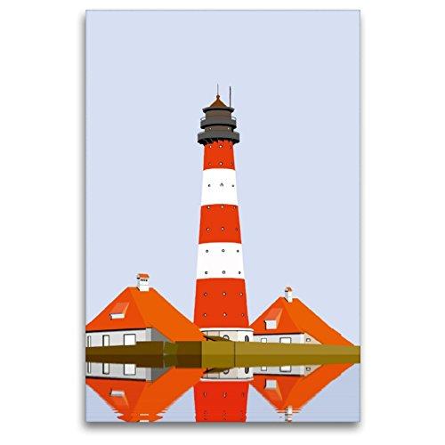 Calvendo Lienzo prémium de 80 x 120 cm de Alto Formato Faro Westerheversand Imagen de Alta definición sobre Bastidor, Listo para Lienzo de Fieltro, impresión de Arte de Gerhard Kraus
