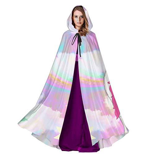 WYYWCY Niedlichen Llamacorn auf Stern wolkig Galaxy Alpaca Cape Mantel Mantel für Frauen Mantel Kapuze für männer 59 Zoll für Weihnachten Halloween Cosplay kostüme