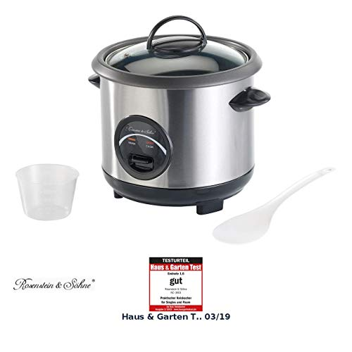 Rosenstein & Söhne Kochtopf: Edelstahl-Reiskocher mit automatischer Warmhalte-Funktion, 0,6 Liter (Reise-Reiskocher)