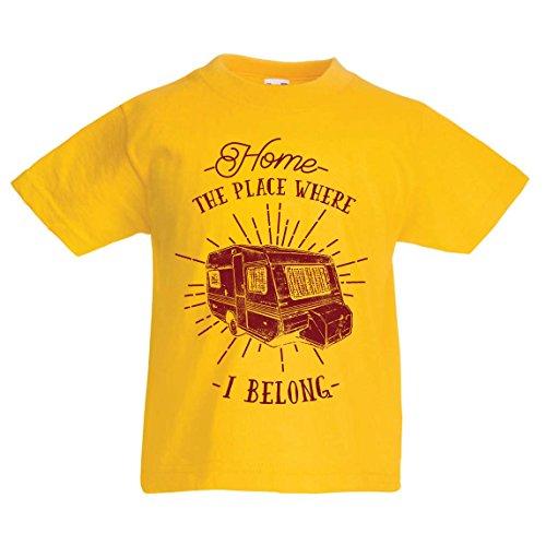 lepni.me Kids T-Shirt De plaats waar ik hoor – Caravan – Wilde en gelukkige vakantie, Natuur, Strand, Bos Camping