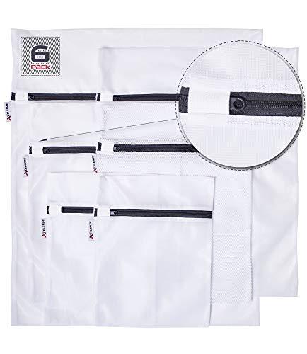 Xcelenze - Premium Wäschenetz für Waschmaschine mit sehr leichtgängigem Reißverschluss und Schutzlasche | Wäschesack Waschmaschine schont Ihre Feinwäsche 6-teilig