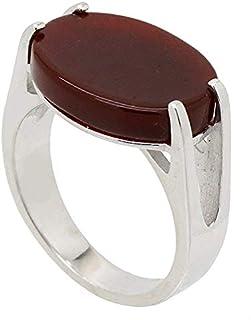 خاتم فضة استرلينية ملاكي للرجال مع حجر احمر غامق من اتيك